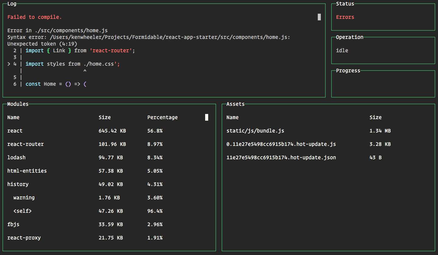 webpack dashboard screen shot